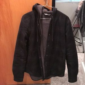 The North Face Black Plaid Fleece Coat Wmns Size S